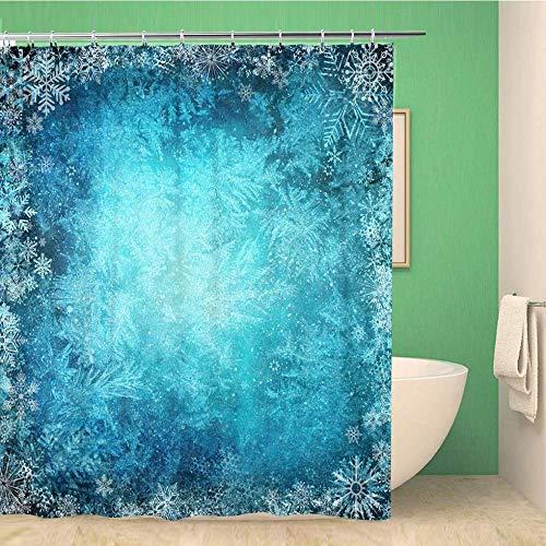 SYLZBHD Badezimmer Duschvorhang Blauer Schnee Winter Von Schneeflocken Weihnachten Frozen Frost TüRkis Polyester Stoff-B180xH180cm