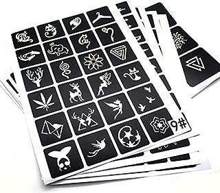 20 Sheets Glitter Airbrush Tattoo Stencils & Templates for Kids Temporary Tattoo Stickers Men Women Fake Tattoo Mixed 446 Designs