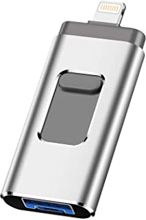 iOS Flash Drive for iPhone Photo Stick 256GB SZHUAYI Memory Stick USB 3.0 Flash Drive Thumb Drive for iPhone iPad Android and Computers (Silver-256gb)