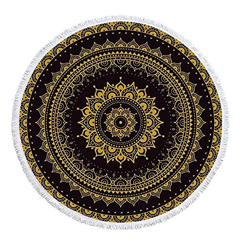 Diámetro Alrededor de 150 cm Color Seis Colores del Modelo Redondo Abstracto geométrico Patrón de Playa Fina Gruesa Toalla de Playa redonda-C13 Absorción de Agua Regalo de Playa de Vacaciones