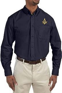 Square & Compass Embroidered Masonic Men's Poplin Button Down Dress Shirt