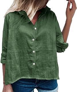 WOCACHI Long Sleeve Tshirt for Womens, Pocket Button Turn-Down Lapel Neck Casual Ladies Work Tunic Tops Plain Shirts