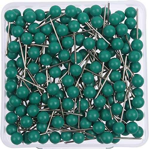 AnMiao Star 1/8 Inch Map Tacks, Push Pins, Plastic Round Head, Steel Point, 100-Count, Green Colors