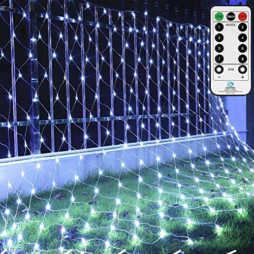 Ollny Outdoor Net Lights Garden Mesh Lights,200 Led 3m x 2m Fairy Light Net Lights Mains Powered Cool Whtie Net Lights with Remote & Timer for Indoor Curtain Bedroom Christmas Holiday Yard Decorations