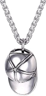 UMtrade Men Street Hip-hop Style Jewelry Stainless Steel Baseball/Rugby Cap Hat Pendant Necklace