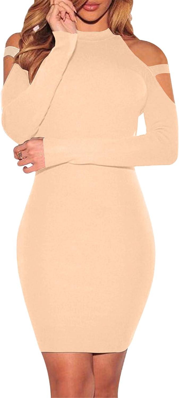 BOFETA Womens Long Sleeve Cold Shoulder Bodycon Dress Solid Sexy Club Dress