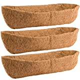 ANPHSIN 3 Pcs Horse Trough Coco Replacement Liners- 24 Inch Window Basket Liners Replacement Coco Liner Coconut Fiber Plant Basket Liner for Window Box Wall Trough Planter