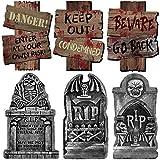 Lim Halloween Decorazioni Horror,Lapidi Halloween*3 Cartello Stradale Cartelli di Avvertimento*3 per Cortile Cimitero Stradali Decorazioni All'Aperto