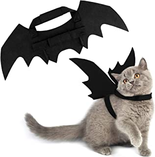 Pawaboo Cat Costume Bat Wings, Black Cat Kitten Bat Wings Cosplay with Hook and Loop Closure, Fancy Pet Kitty Dress Costume Outfit Halloween Party Costumes Apparel Dress Up Clothes Accessory, Black