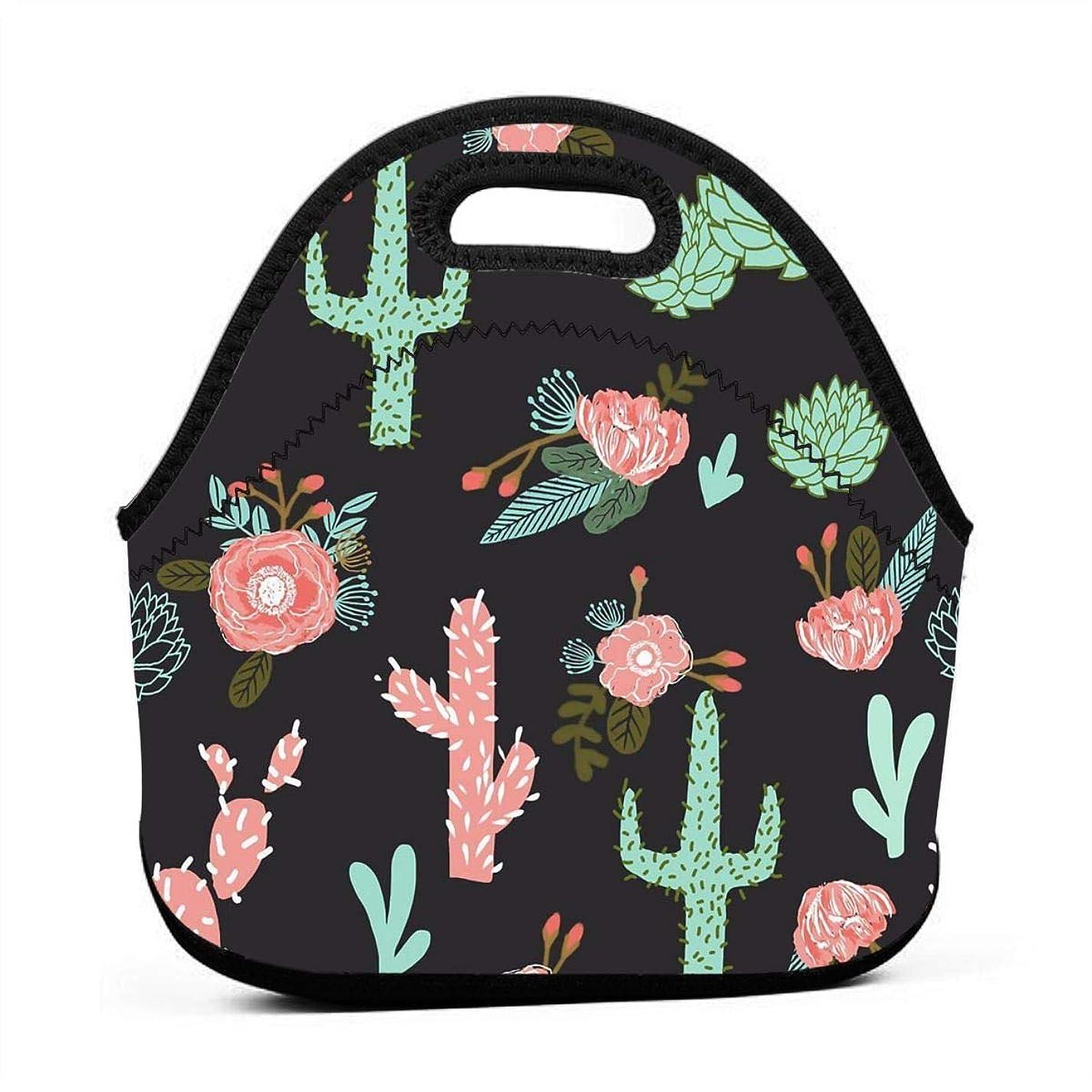 お嬢閲覧する極小Cactus Flowers Cute Girls Cacti Pink 保温再利用可能おポータブル弁当箱ランチトートバッグ食事袋子供大人ユニセックス