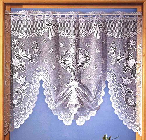 heimtexland ® Scheibengardine M-Bogen Jacquard Weiß Fensterbild Gardine Gebogt und Gerafft HxB 98x120