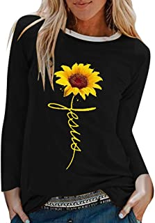Sceoyche Womens Casual Sunflower Print Shirts O-Neck Long Sleeve Top Loose T-Shirt Blouse