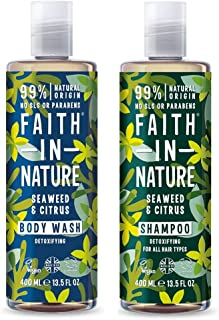 Faith In Nature Seaweed and Citrus Shampoo and Body Wash 400ml Duo Pack