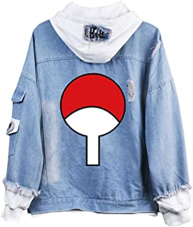 Gumstyle Anime Naruto Denim Hoodie Jacket Adult Button Down Jeans Coat