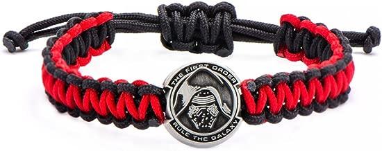 no-metal-type' Kylo Ren Helmet Paracord Bracelet - Star Wars Metal Charm Artwork, 1.8