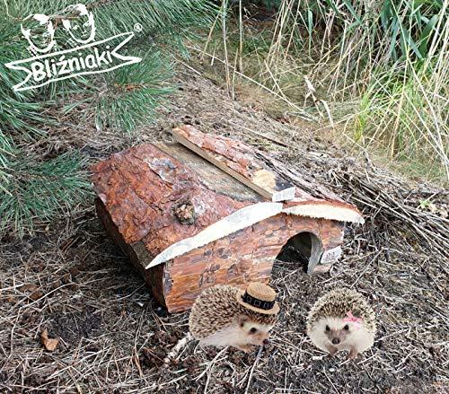 BLIŹNIAKI Hölzernes Igelhaus 35x40x21cm ECO Igelpension Nicht imprägniert Kein Boden Igelpension Igelhütte Winterquartier Igelhotel ECO Igelhaus aus Holz für den Garten HDJ2