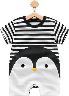 Es Unico Penquin Bodysuits for Boys, Cotton One Piece Romper Outfit Baby Infant Black