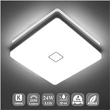 Airand 5000K LED Ceiling Light Flush Mount 24W 12.6in Square LED چراغ سقفی برای آشپزخانه حیاط حمام با 240Pcs چیپس LED بدون فلیکر، 2050LM، IP44، 80Ra +، 180W معادل (نور روزانه سفید)