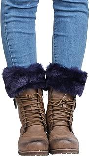 Knight Horse Womens Crochet Knitted Leg Warmers Faux Fur Trim Cuffs Topper Boots Socks