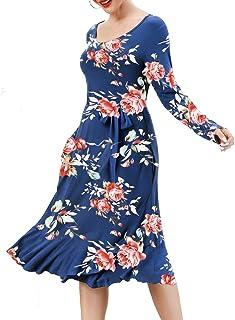 فساتين الخريف من Kyerivs بأكمام طويلة للنساء وجيوب عمل بسيط فستان كاجوال متوسط الطول