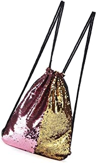 Women Double Color Sequins Drawstring Backpack Sport Running Camping Beach Female Bags