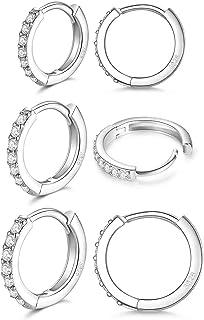 LIHELEI Orecchini a Cerchio in Argento Sterling 925 per Donna, Orecchini a Polsino Orecchini a Bottone Cartilagine Huggies...