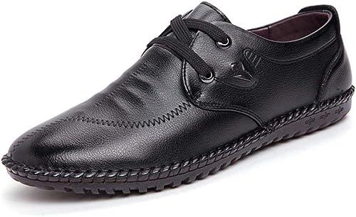 JIALUN-Schuhe Oxford Oxford Oxford Schuhe für Männer Courtly Schuhe Schnürung Stil Mikrofaser Leder Flabby Britischen Stil Runde Zehe (Farbe   Schwarz Größe   42 EU)  Rabatte und mehr