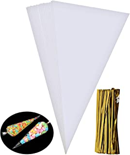 Wode Shop 100 Pieces Clear Cone Bags, Medium Transparent Plastic Cone Bags Sweets Treat Bags With Gold Twist Ties, 14.56 X 7.1 Inches