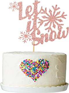 Let's it Snow Cake Topper - Merry Christmas Cake Topper - Holiday Santa and Reindeers Cake Decorations - Happy New Year,Sn...