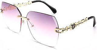 FEISEDY Classic Rimless Sunglasses Women Metal Frame Diamond Cutting Lens Sun Glasses B2567