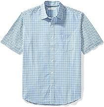 Amazon Essentials Men's Regular-Fit Short-Sleeve Casual Poplin Shirt, Blue Plaid, XX-Large
