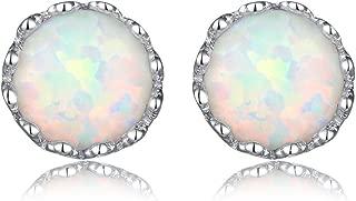 7mm Crown Stud Earrings in Sterling Silver 925 w/White Synthetic Opal n Butterfly Backs