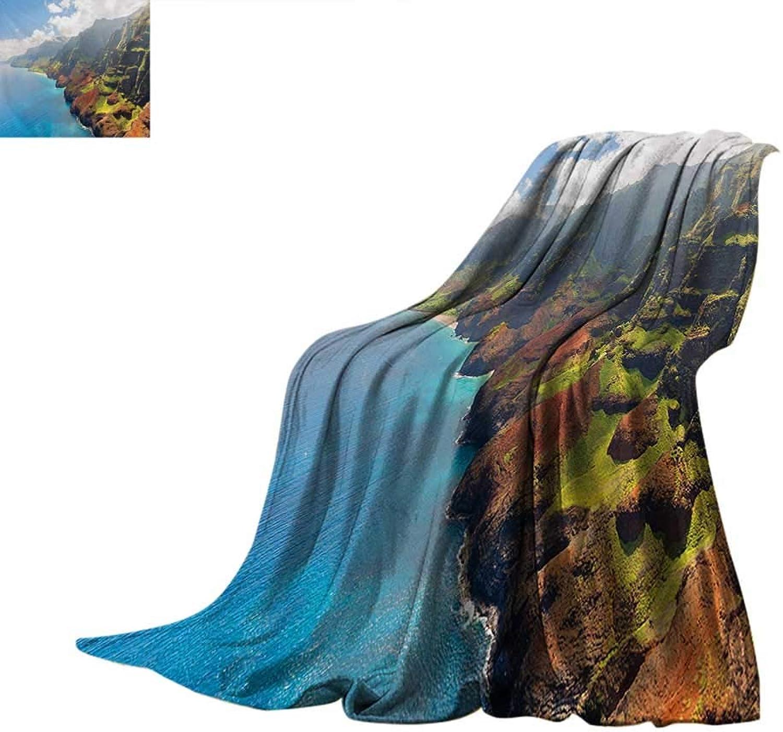 HawaiianOffice Throwing blanketNa Pali Coast on Kauai Island Water Sunshines Foggy Cloudscape PanoramaOffice Warm Blanket 62 x60  bluee Green Brown
