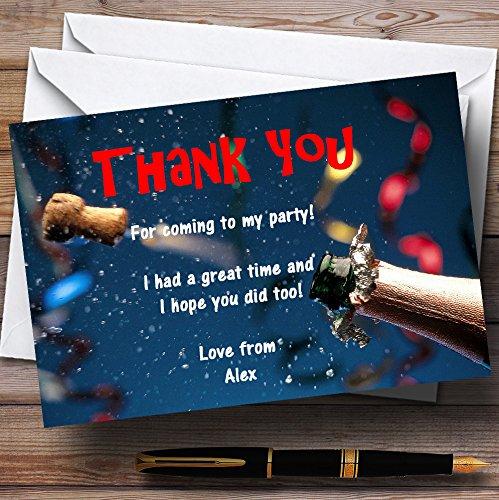 10 x Uitnodigingen Blauwe Champagne Kurk Viering Gepersonaliseerde Party Dank Kaarten