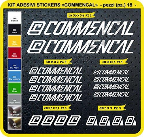 Adesivi Bici COMMENCAL 2015 Kit Adesivi Stickers 18 Pezzi -Scegli SUBITO Colore- Bike Cycle pegatina cod.0301 (Bianco cod. 010)