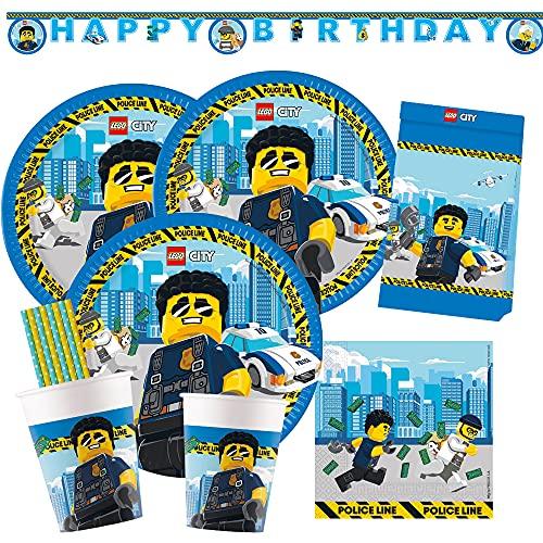 spielum Set de fiesta de 53 piezas Lego City, platos, vasos, servilletas, guirnalda, bolsas de fiesta, pajitas de papel para 8 niños