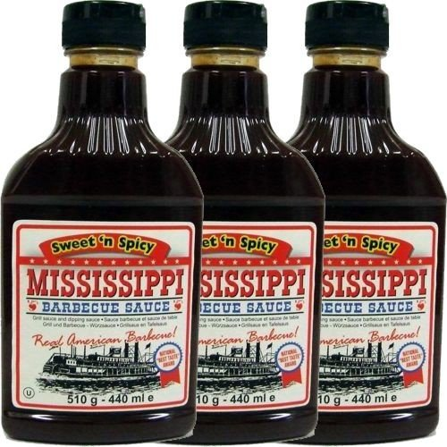 Mississippi Barbecue Sauce 'Sweet'n Spicy' 3 x 440ml (Grill-Sauce)