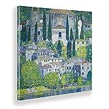 Giallobus - Cuadro - Gustav Klimt - Iglesia en Cassone - Lienzo - 100x100 - Listo para Colgar - Cuadros Modernos para el hogar