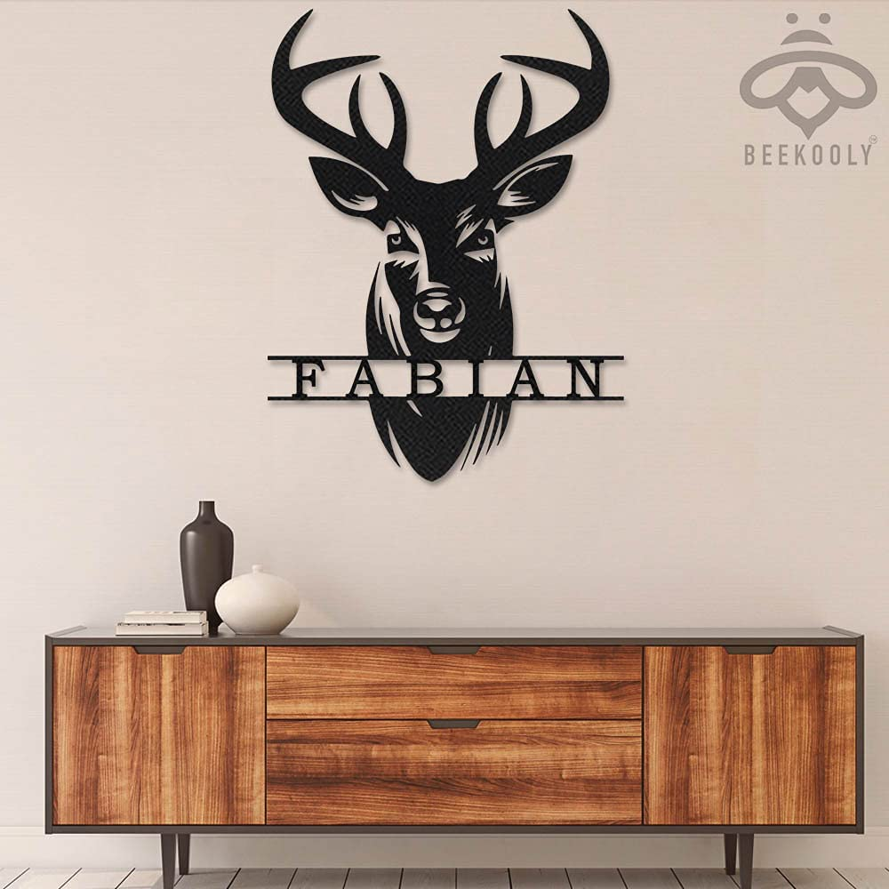 Personalized Deer Hunting Metal Wall 激安セール With Lights Antler Led 特別セール品 Art