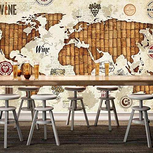 WGBHQ Zelfklevend wandbehang 3D-art print foto retro nostalgie koffie op de wereldkaart slaapkamer restaurant kantoor kinderkamer familie woonkamer (B) 250 x (H) 175 cm