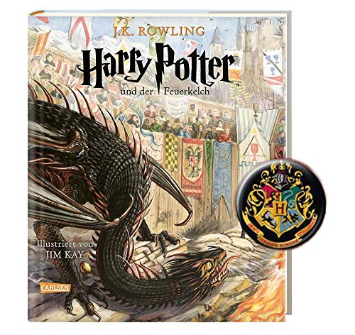 Carlsen Harry Potter und der Feuerkelch (4. Band, farbig illustrierte Schmuckausgabe) + 1 Harry Potter Button