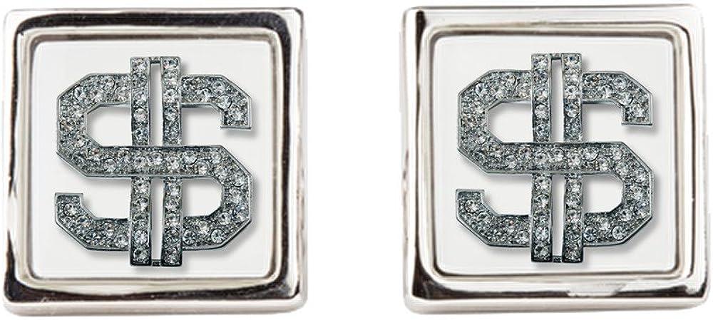 Cufflinks (Square) Bling Dollar Sign