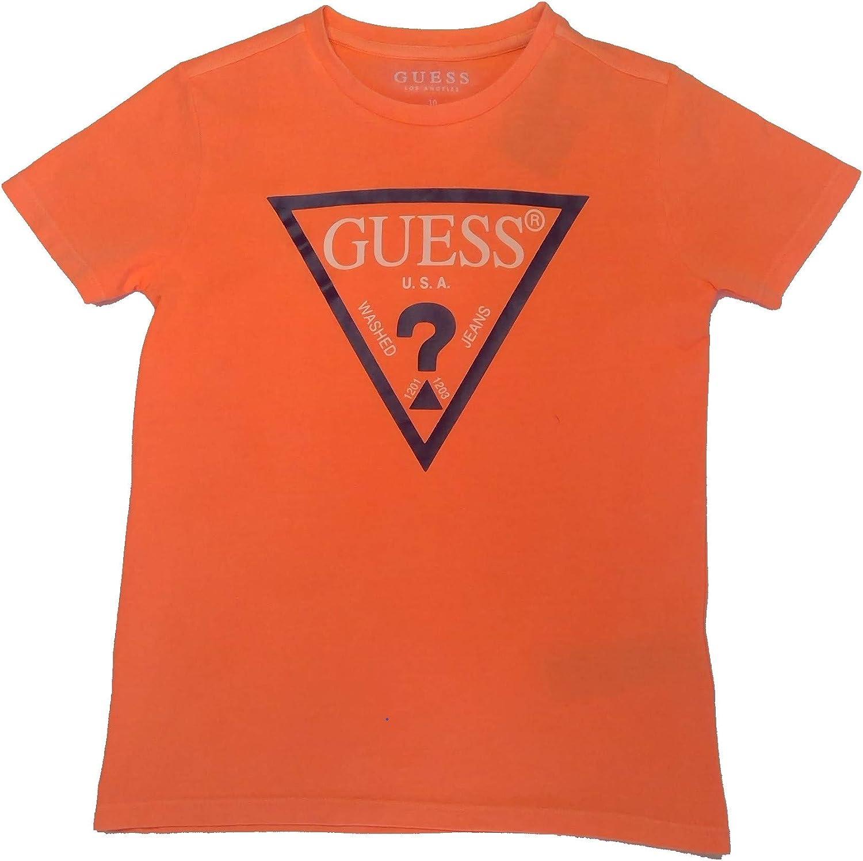 Kids Boys Guess Triangle T Shirt Crew Neck Short Sleeve New