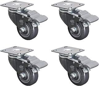 Vierdelige dubbelassige stille wielen, 2,5-inch directionele polyurethaan wielen met universele rem, geen schade aan de grond