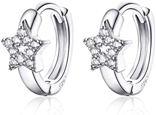 CZ Star Cubic Zirconia Cartilage Small Hoop Earrings for Women Girls 925 Sterling Silver Tiny Cute Hollow Diamond Hinged H...