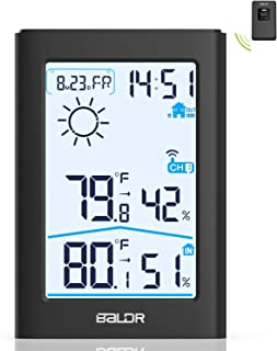 Weather Station, Indoor Outdoor Thermometer Hygrometer with Remote Sensor, Digital Wireless Temperature and Humidity Monitor with Weather Forecast, Date/Time Display, Alarm Clock, Backlight (Black)