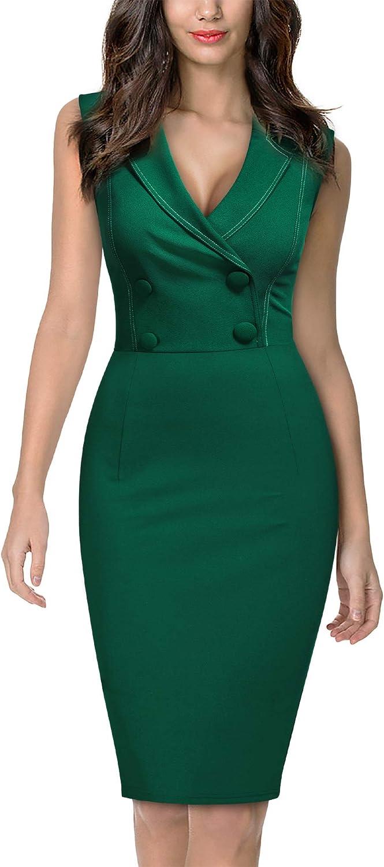 Miusol Women's Deep V-Neck Sleeveless Business Slim Pencil Dress
