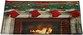 Armfer-household supply Christmas Bathroom Rugs Snowman Reindeer Jingle Bell Graphic Carpets Mats Anti-Slip Bath Mat Extra Soft Coral Velvet Absorbent Christmas Home Decorations 15.7x23.6 inch
