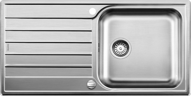 Weiß Livit XL 6 S, Küchenspüle mit XL-Becken und Abtropfzone, reversibel, Edelstahl Bürstfinish, 518519