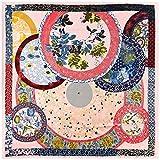 Tony plate Foulard en Soie Femmes Grands Châles Plante Jardin Étoles Foulard Carré Écharpe Femmes 130Cm Écharpe-5